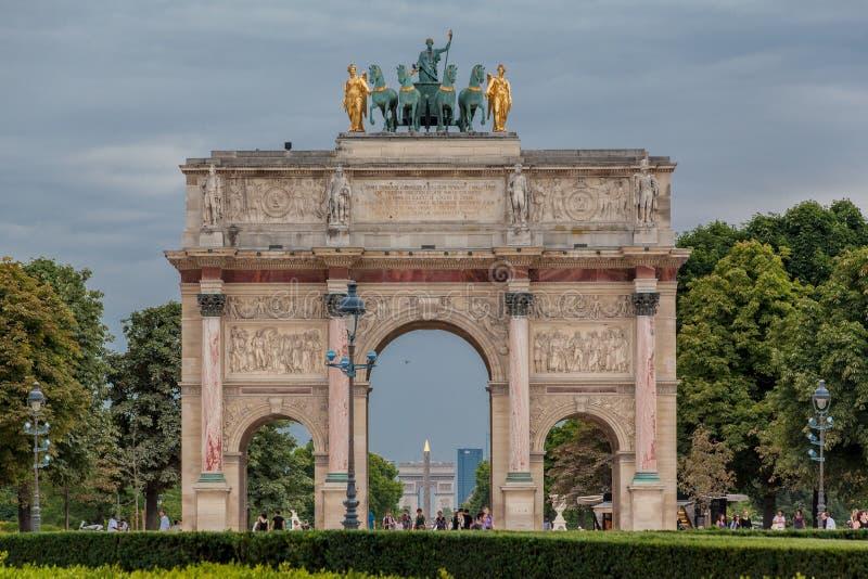 De Boog van de triomf van de Carrousel Parijs Frankrijk stock afbeeldingen