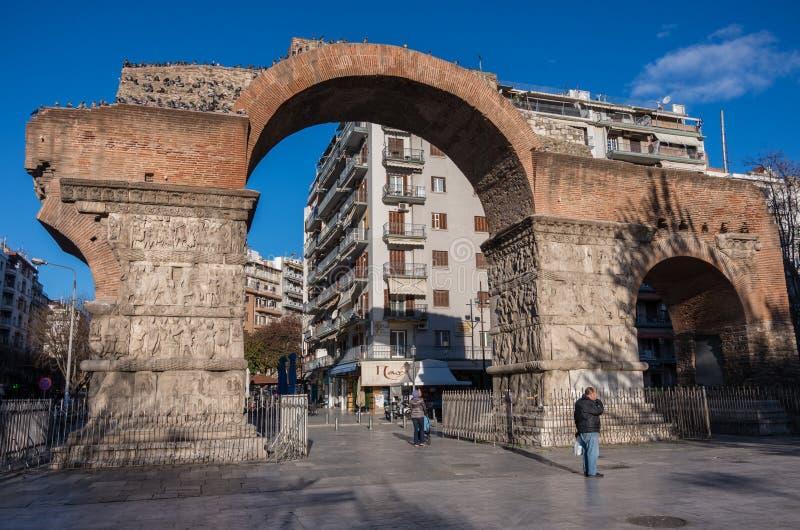 De Boog van Galerius, als Kamara, Thessaloniki, Griekenland wordt bekend dat stock fotografie