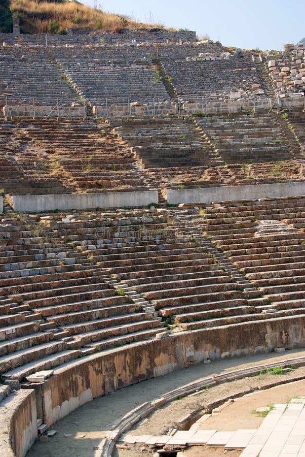 De boog van het detail van oud theater van ephesus stock afbeelding