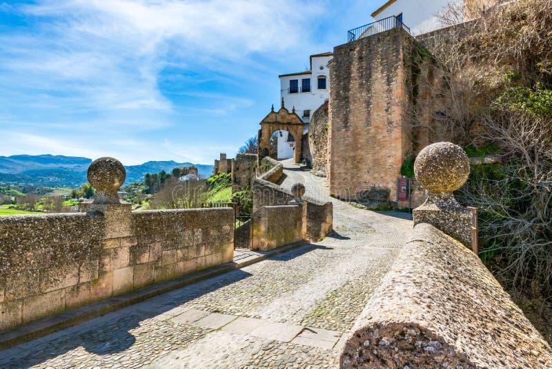 De Boog van Philip V in Ronda, Spanje stock foto