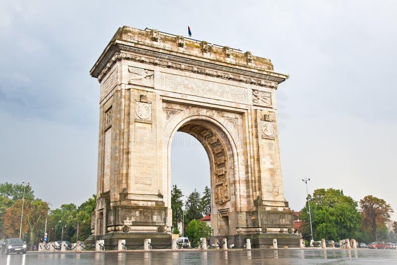De Boog van Triumph in Boekarest, Roemenië. royalty-vrije stock afbeeldingen
