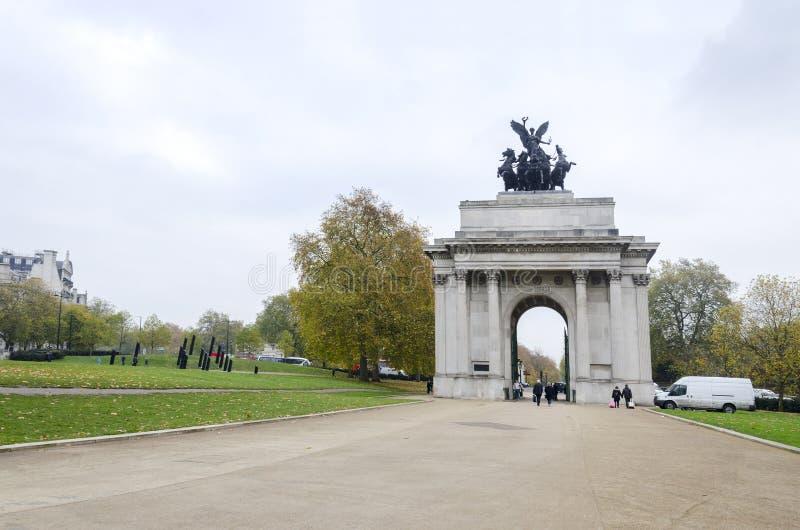 De Boog van Wellington, Londen stock foto