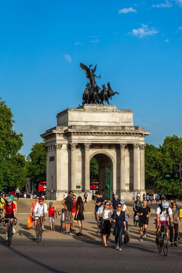 De booggedenkteken van Wellington aan Hertog in Londen, Engeland, het UK stock foto