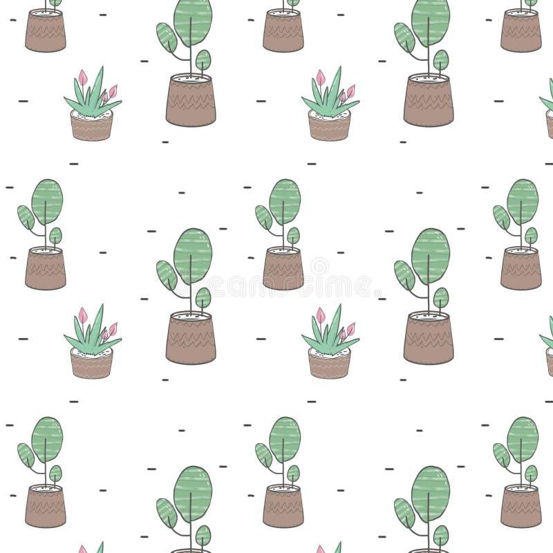 De boom en de installaties in een potten semlless patroon knippen kunst, illustratie, die op witte achtergrond trekken vector illustratie