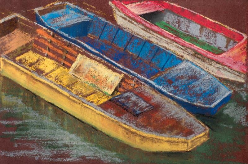 De boom kleurde houten boten op rivier De ZOMERlandschap Pastelkleur het schilderen stock afbeeldingen