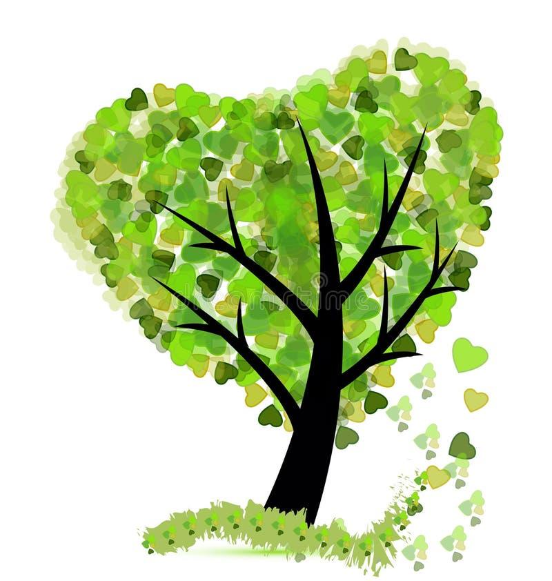 De boom met doorbladert gevormd als vector van het hartpictogram vector illustratie