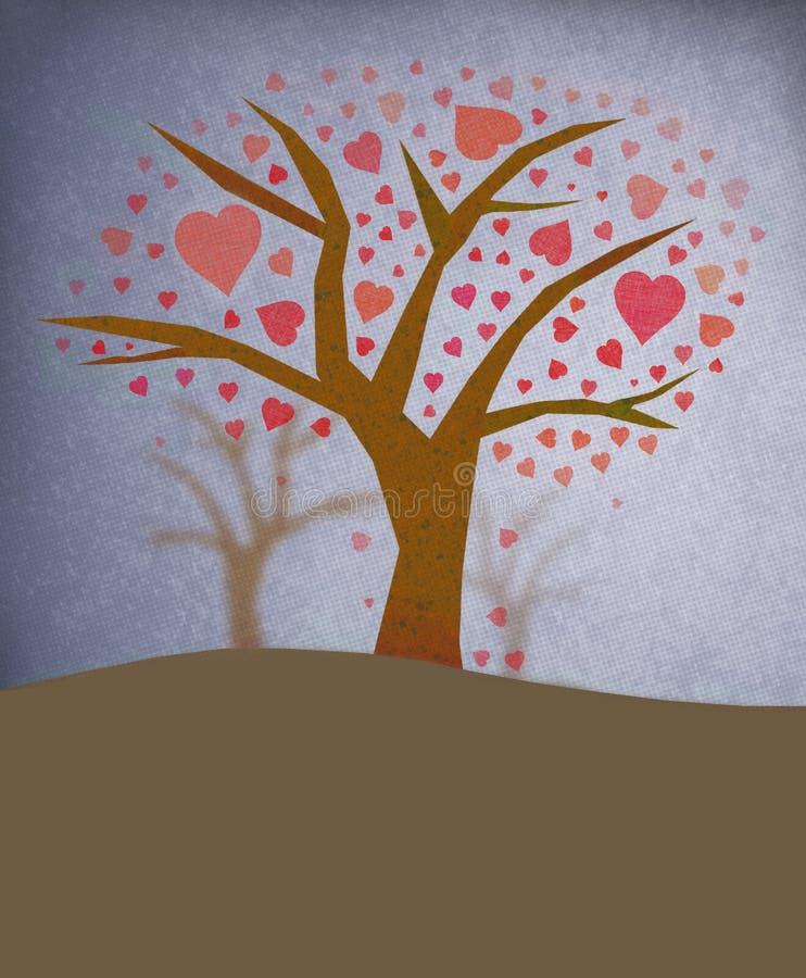 De boom met gevormd hart doorbladert stock afbeeldingen