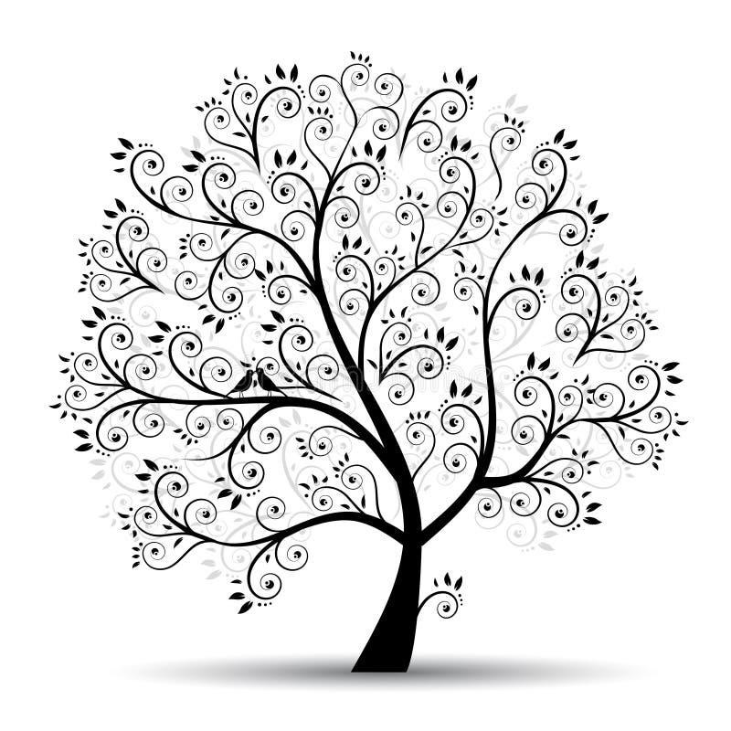 De boom mooi, zwart silhouet van de kunst royalty-vrije illustratie