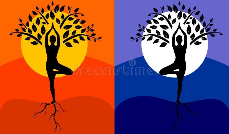 De boom stelt Yoga royalty-vrije illustratie