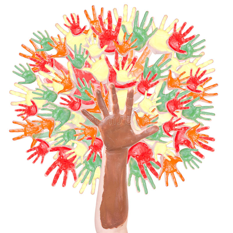 De boom van de herfst die van handen wordt gemaakt vector illustratie