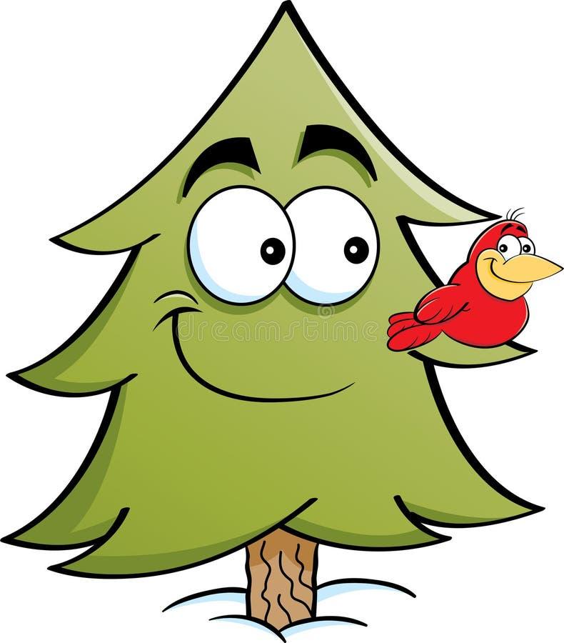 De boom van de beeldverhaalpijnboom met een vogel op het de tak van ` s vector illustratie
