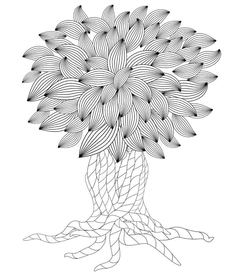De boom van de bloesem Kleurend boek voor volwassene Krabbels voor Meditatie royalty-vrije illustratie