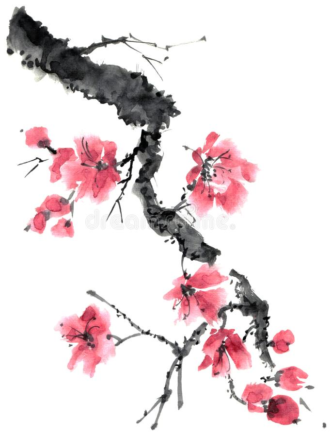 De boom van bloesemsakura royalty-vrije illustratie