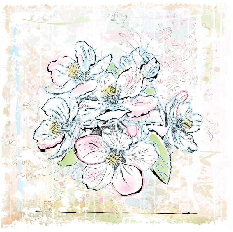 De boom van de appel in bloei vector illustratie
