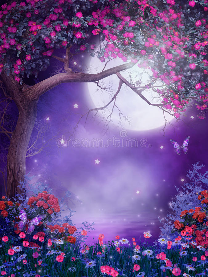 De boom van de fantasie met bloemen royalty-vrije illustratie