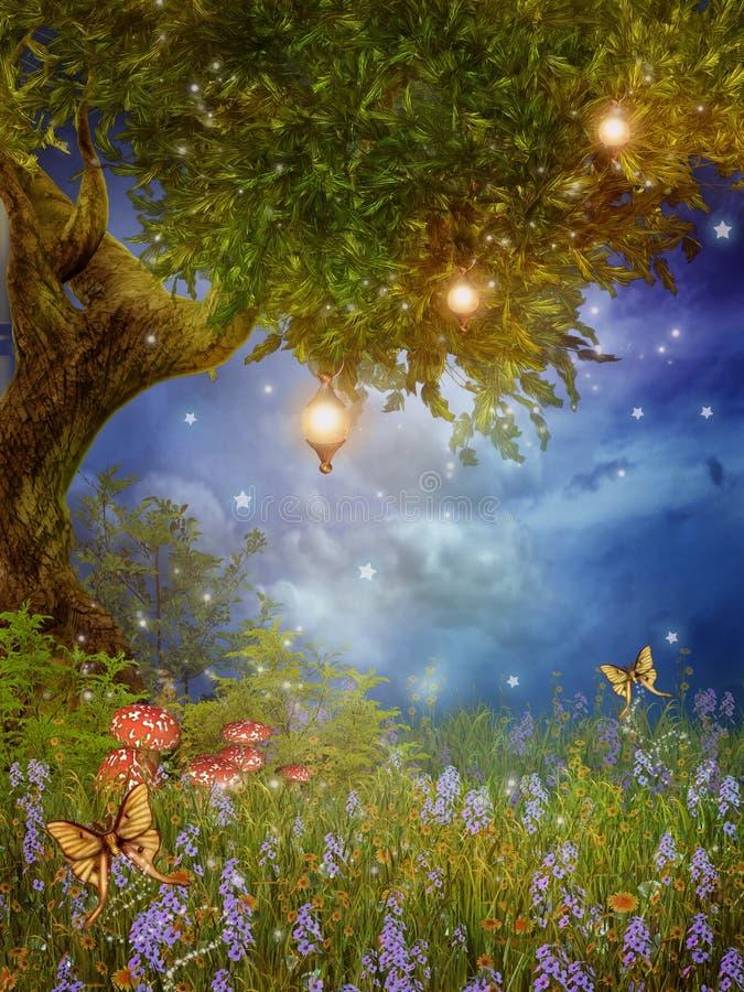 De boom van de fantasie met lampen