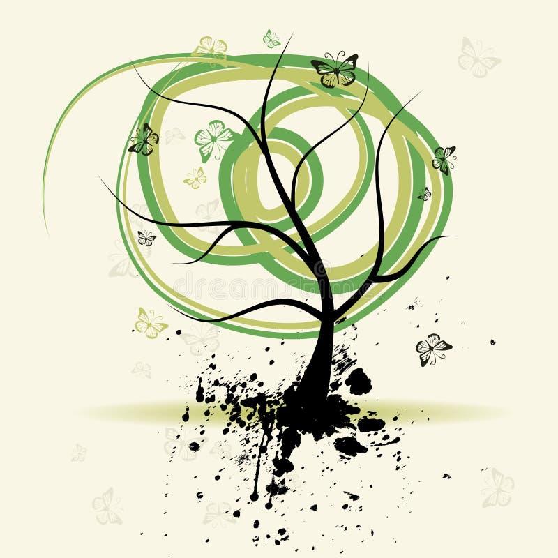 De boom van de kunst, grunge achtergrond vector illustratie