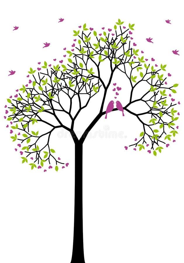 De boom van de lente met liefdevogels, vector