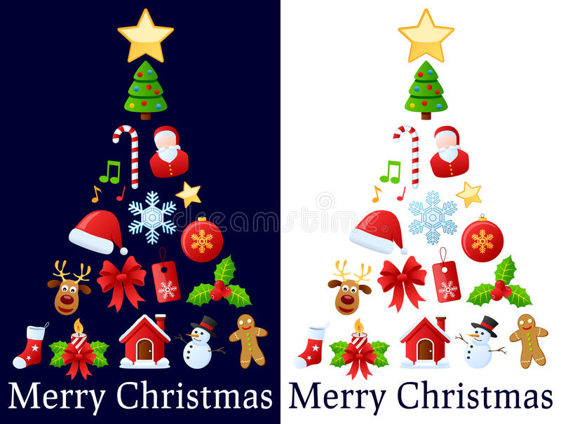 De Boom van de Pictogrammen van Kerstmis royalty-vrije illustratie