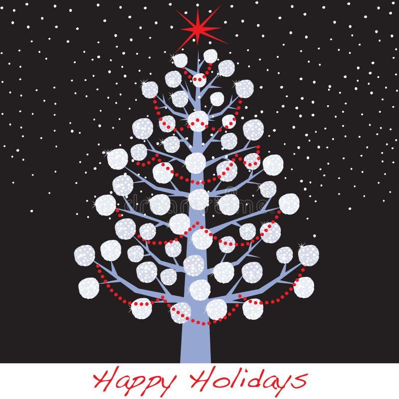 De Boom van de Vakantie van Kerstmis van de sneeuwbal stock illustratie