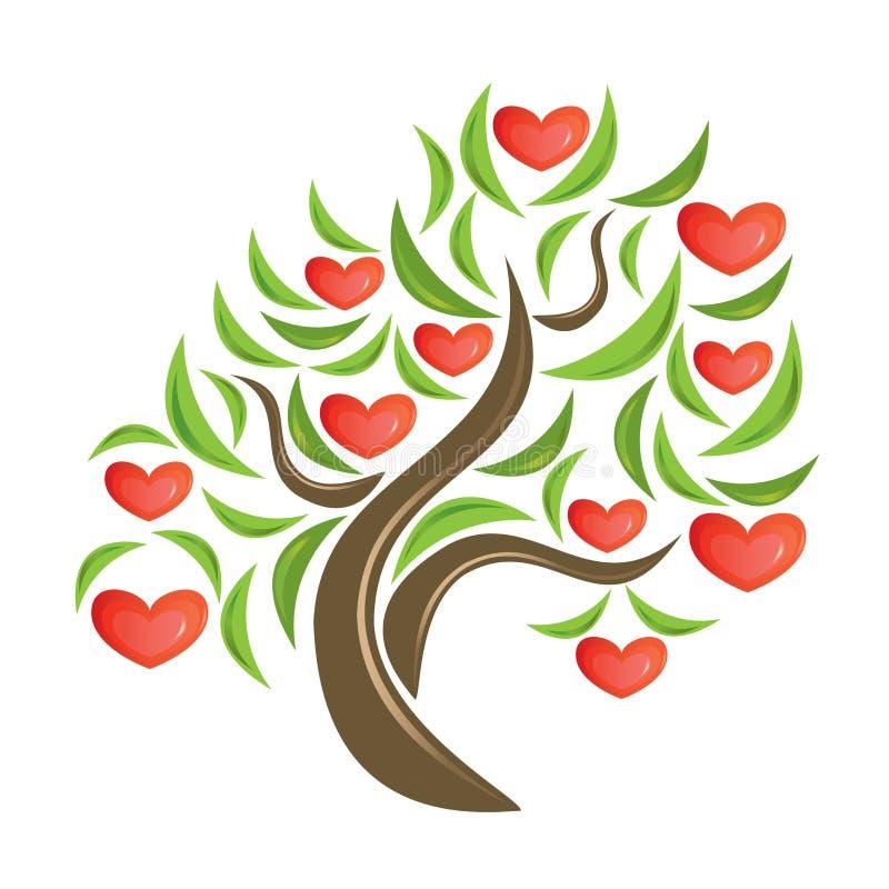 De boom van de valentijnskaart. stock illustratie