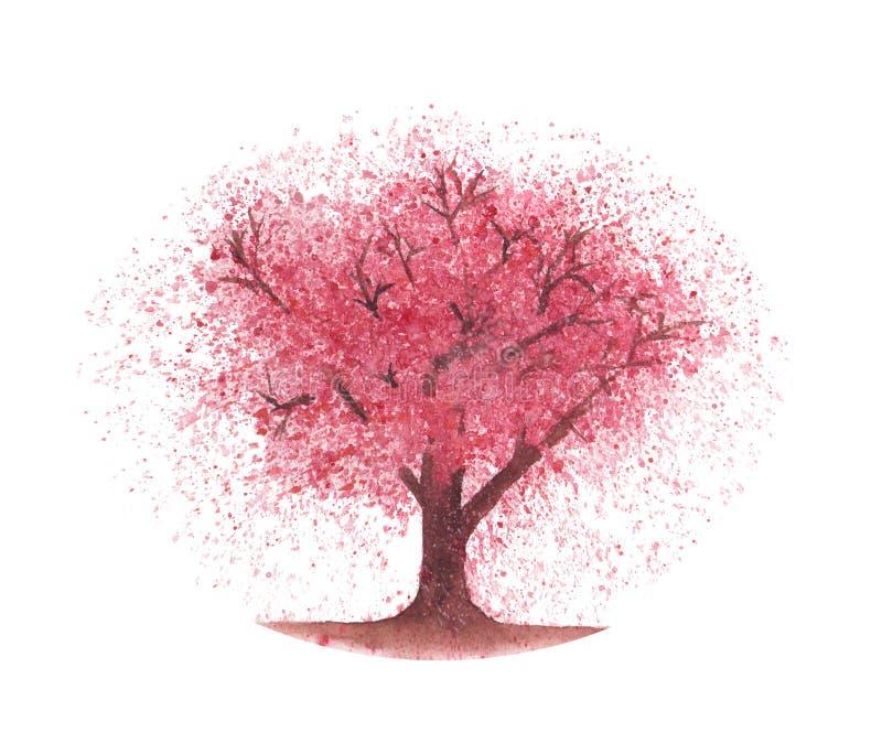 De boom van de waterverfkers stock illustratie
