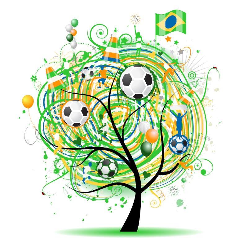 De boom van de wereldkop, de vlag van Brasilia stock illustratie