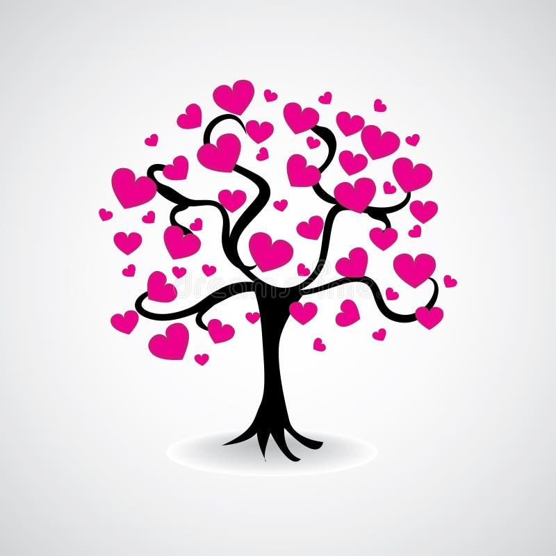 De boom van hart doorbladert vector illustratie