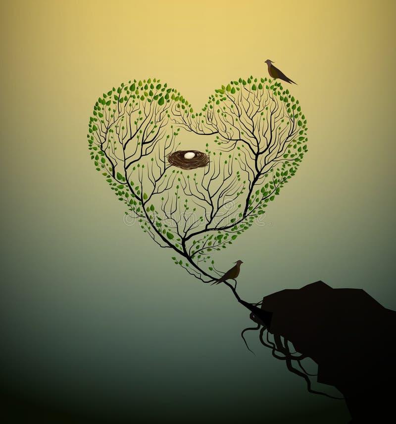 De boom van de hartvorm met bod en nest het groeien bij de rand van de rots, boom van liefde en zorg, Valentine-symbool, royalty-vrije illustratie