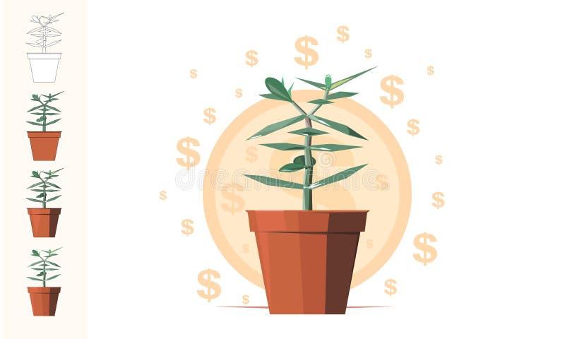 De boom van het geld Financieel bedrijfs vectorart. royalty-vrije illustratie