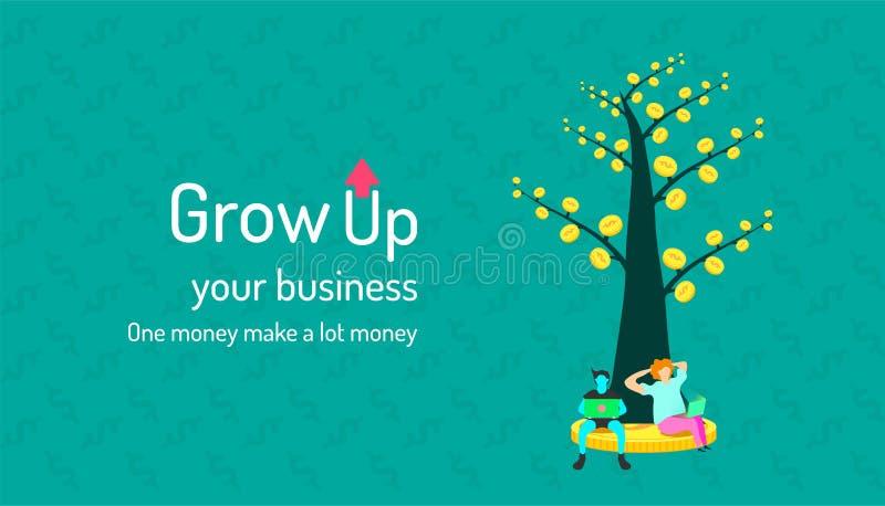 De boom van het geld Groei Uw Zaken één muntstuk maakt een muntstuk het menselijke verhoogt analyseren twee en uw rijk werkingsge royalty-vrije illustratie