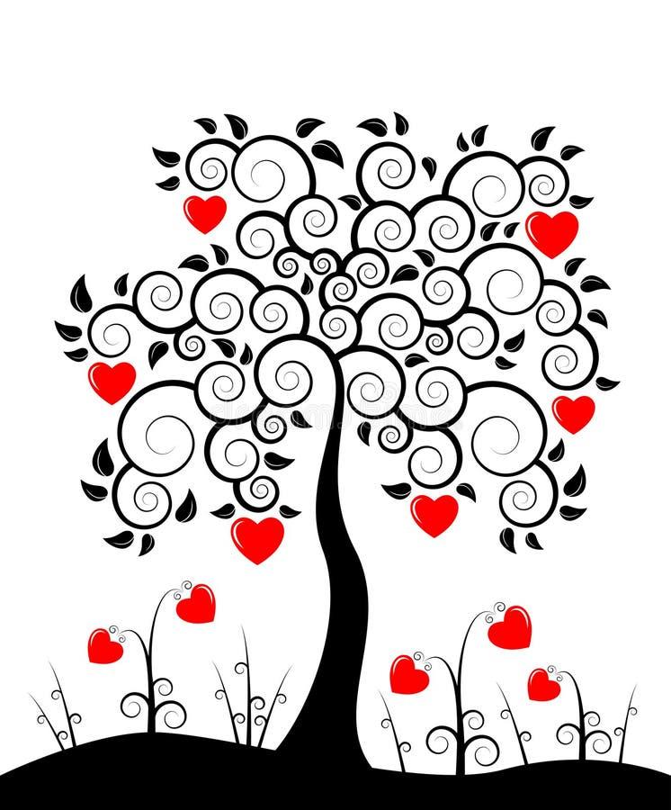 De boom van het hart en hartbloemen stock illustratie