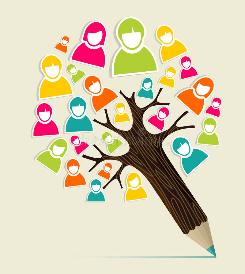 De boom van het het conceptenpotlood van diversiteitsmensen vector illustratie