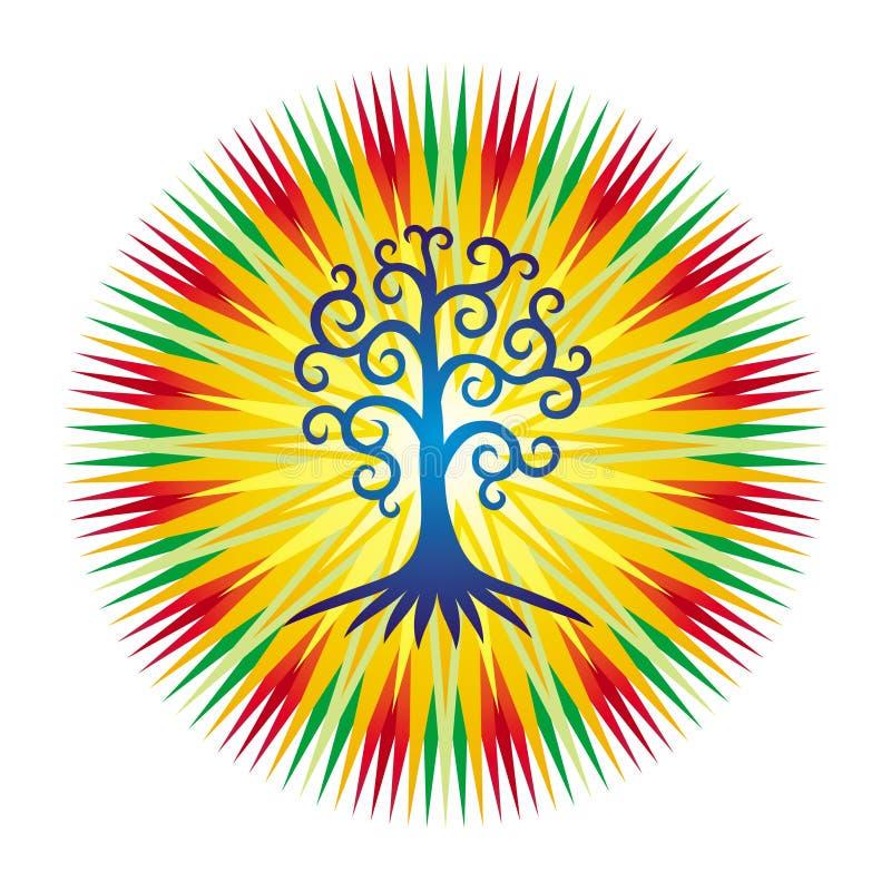 De boom van het leven tegen de achtergrond van openwork mandala in heldere kleurrijke kleuren vector illustratie