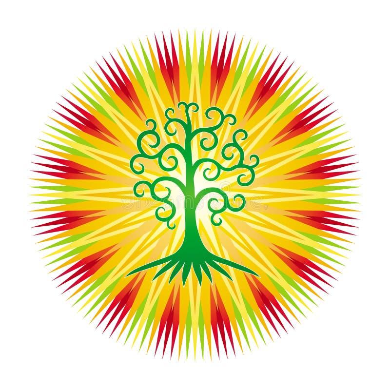De boom van het leven tegen de achtergrond van openwork mandala in heldere kleurrijke kleuren stock illustratie