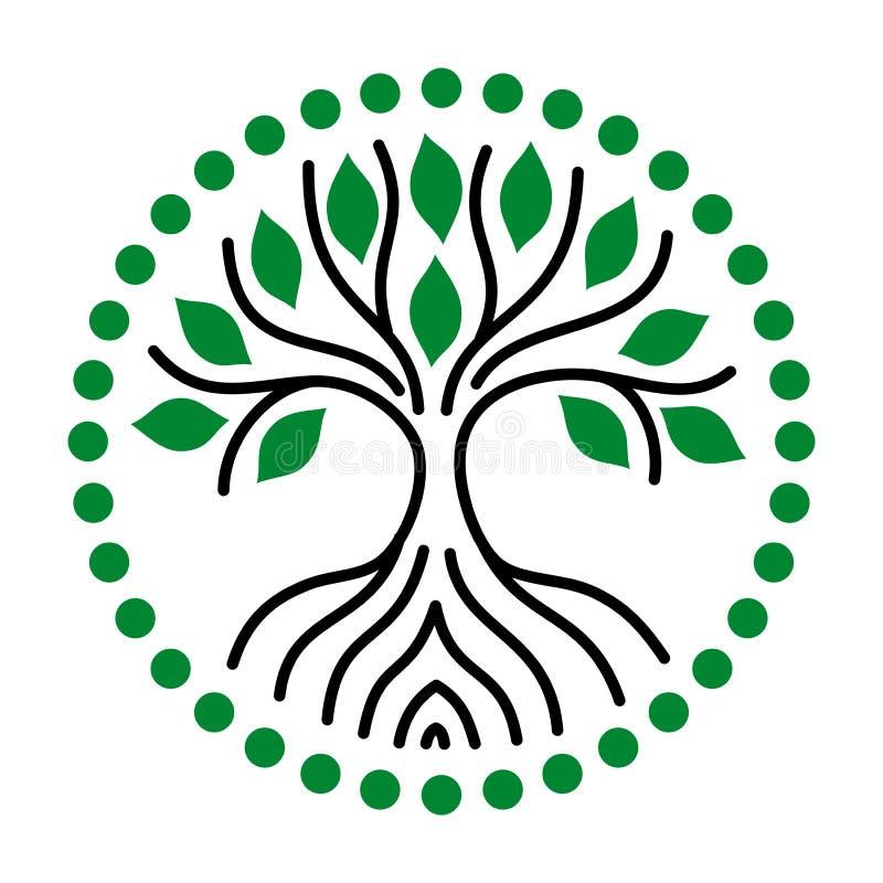 De boom van het leven van zwarte lijnen en groene bladeren embleem Vector stock illustratie