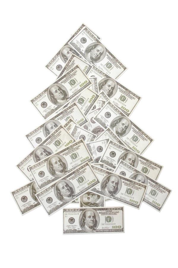De boom van honderd dollarKerstmis stock afbeelding