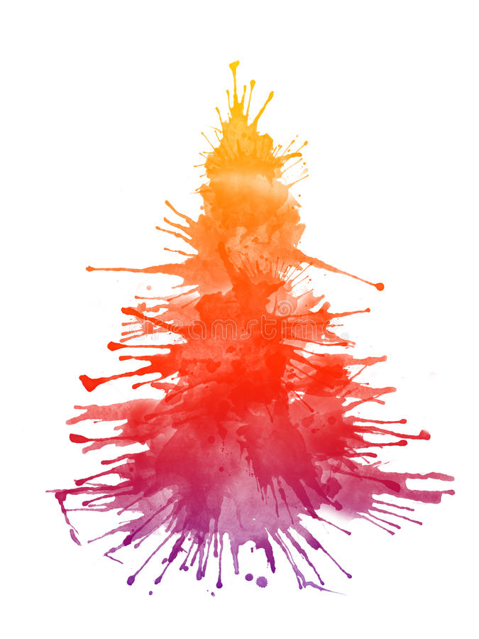 De Boom van Kerstmis van de waterverf stock illustratie