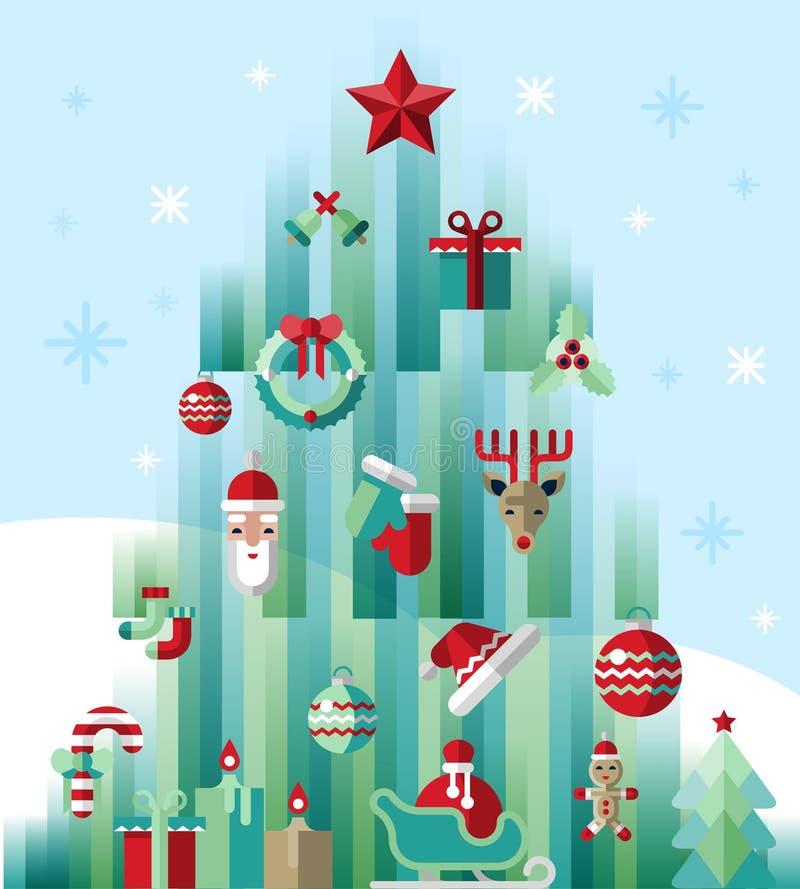 De boom van Kerstmispictogrammen royalty-vrije illustratie