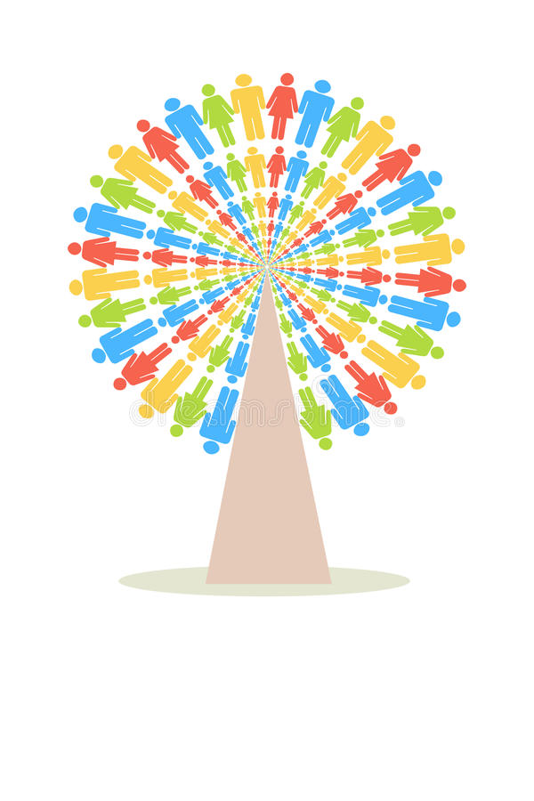 De Boom van kleurenmensen vector illustratie