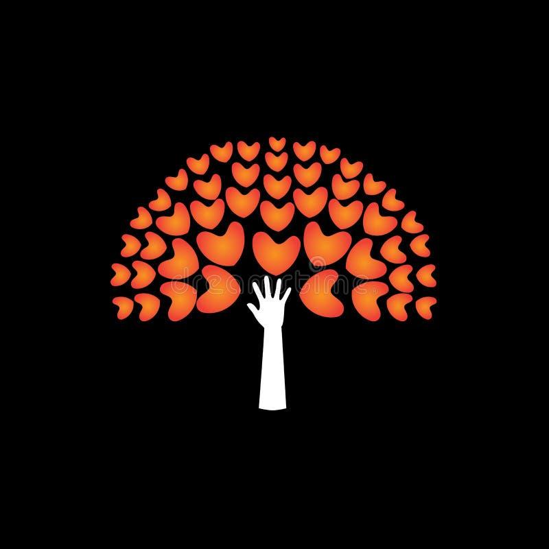 De boom van liefdeharten en dient steun in - concepten vectorpictogram royalty-vrije illustratie