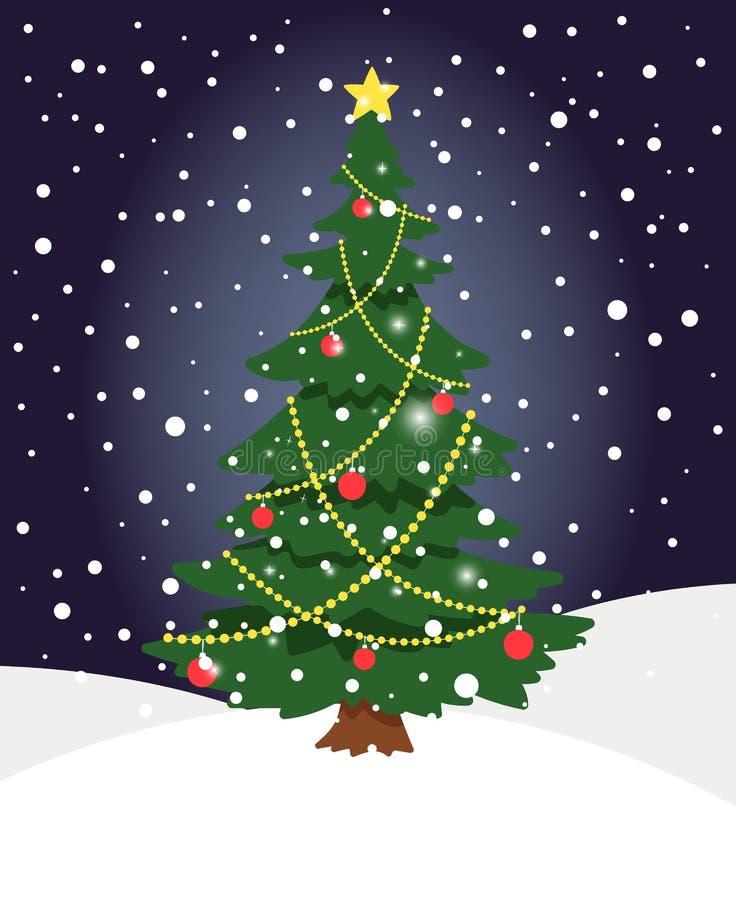 De boom van sneeuwkerstmis De boompijnboom van de winter altijdgroene Kerstmis met nette lichtendecoratie op de achtergrond van d vector illustratie