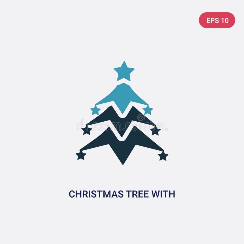 De boom van twee kleurenkerstmis met ster vectorpictogram van vormenconcept de geïsoleerde blauwe Kerstmisboom met symbool van he vector illustratie