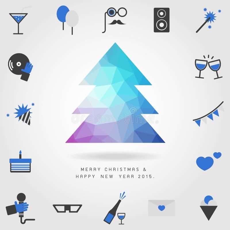 De boom van veelhoekkerstmis op vrolijke Kerstmis en gelukkig nieuw jaar 201 vector illustratie