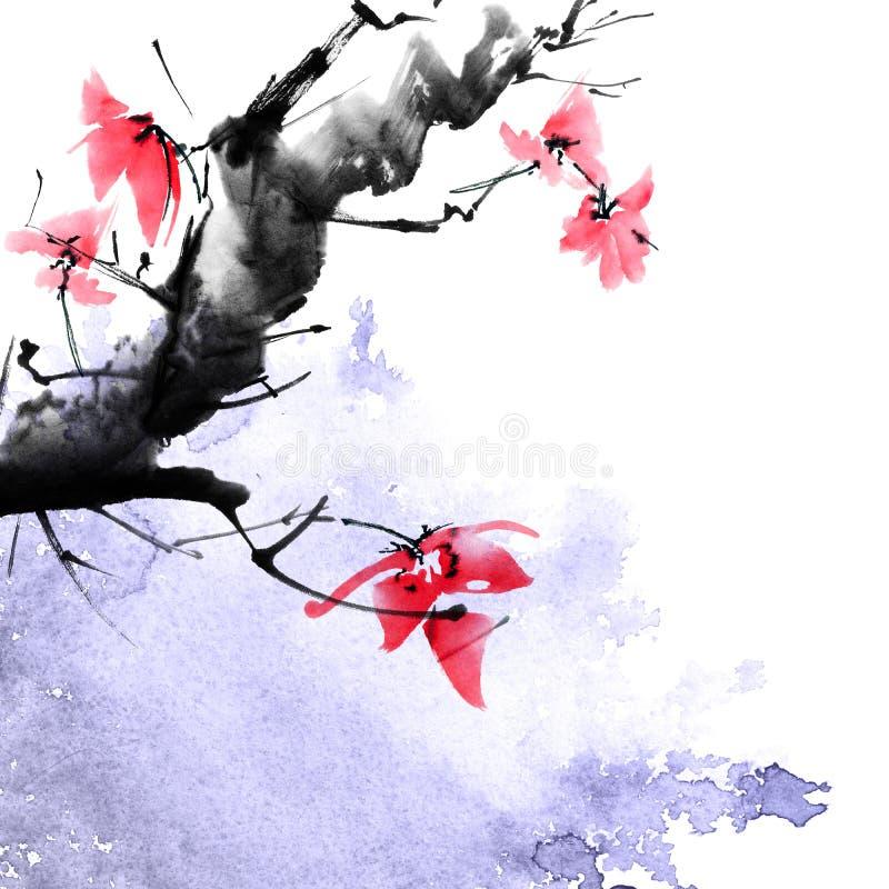 De boom van de waterverfbloesem royalty-vrije illustratie