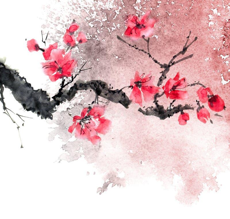 De boom van de waterverfbloesem stock illustratie
