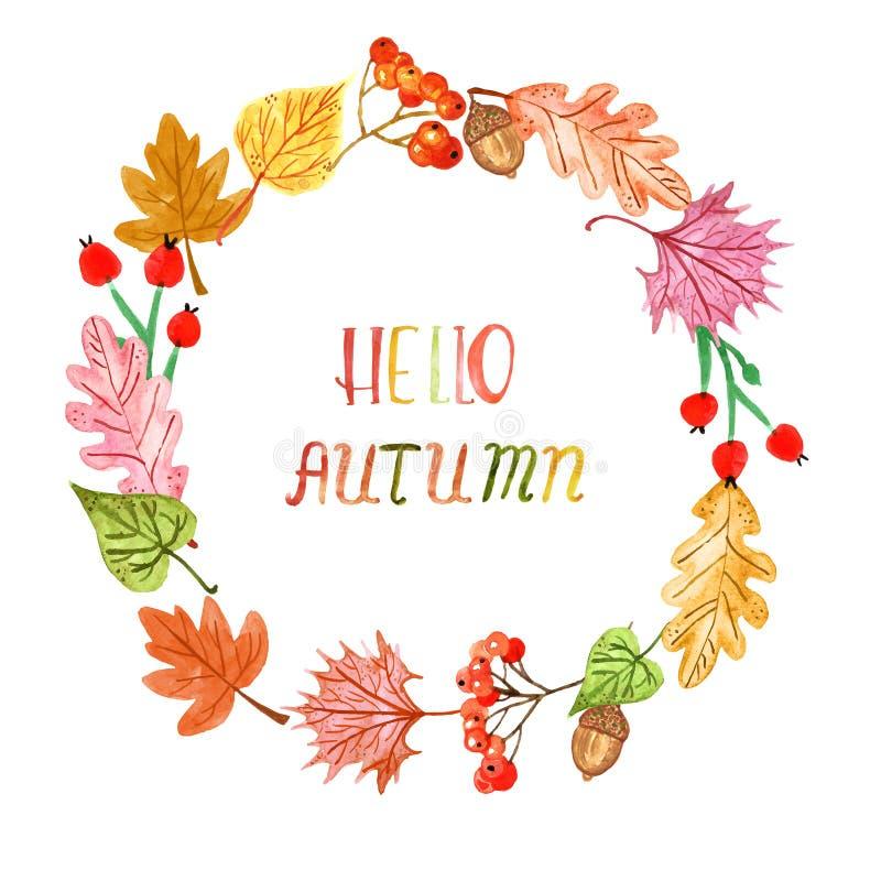 De boom van de waterverfdaling kleurde bladerenkroon Hand geschilderd de herfst natuurlijk die kader, op witte achtergrond wordt  stock afbeelding