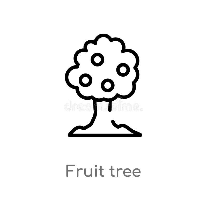 de boom vectorpictogram van het overzichtsfruit de ge?soleerde zwarte eenvoudige illustratie van het lijnelement van ecologieconc royalty-vrije illustratie