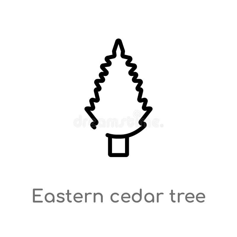 de boom vectorpictogram van de overzichts oostelijk ceder de ge?soleerde zwarte eenvoudige illustratie van het lijnelement van aa stock illustratie