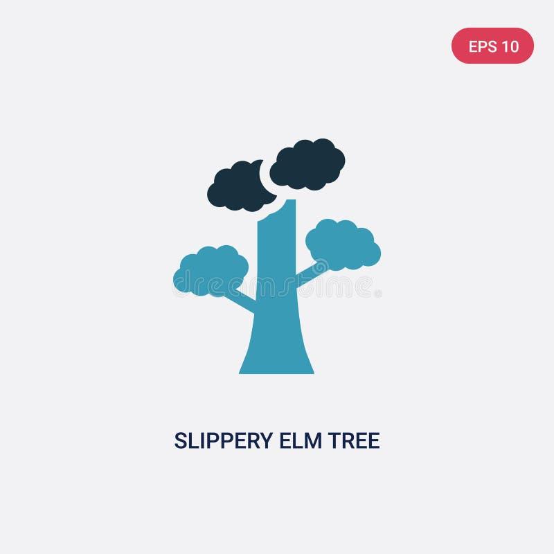 De boom vectorpictogram van de twee kleuren glad iep van aardconcept het geïsoleerde blauwe gladde vector het tekensymbool van de stock illustratie